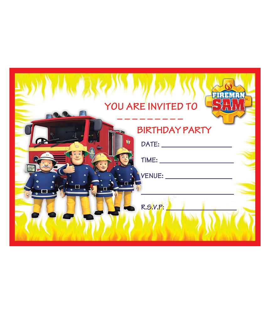 Fireman Sam Birthday Party Invitations