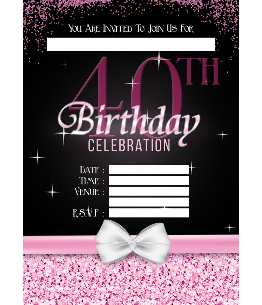 Birthday Party Invitations, available with or with envelopes. Available in quantities of 10, 20, 30, 40 & 50.